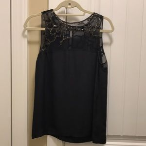 French Connection Black Beaded Silk Top-Never Worn